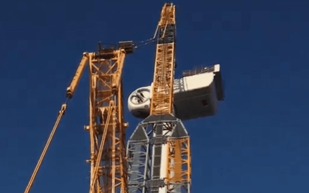 Tagline lieren voor installatie van drijvende windmolen
